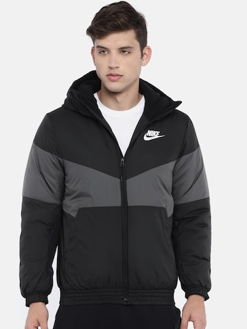 Nike Men Black & Grey Colourblocked NSW SYN FILL Standard Fit Hooded Puffer Jacket Nike Jackets at myntra