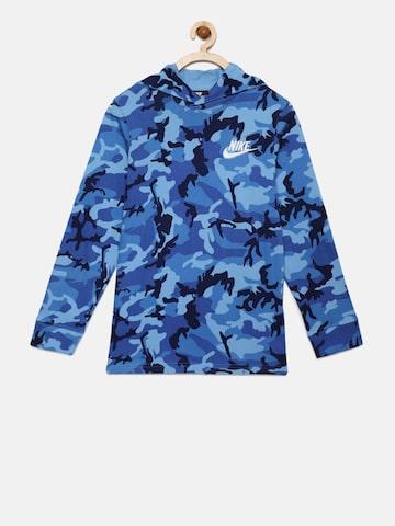 Nike Boys Blue Printed NSW HOODIE Hooded Sweatshirt Nike Sweatshirts at myntra