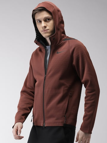Nike Men Burgundy AS M NK THRMA SPHR MX JKT HD F Solid Repellent Hooded Sporty Jacket Nike Jackets at myntra