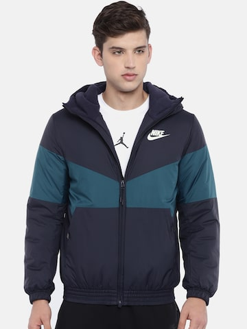 Nike Men Navy Blue Colourblocked NSW SYN FILL Standard Fit Hooded Puffer Jacket Nike Jackets at myntra