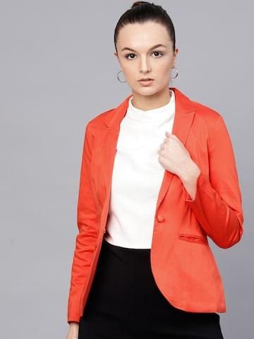 STREET 9 Women Orange Single-Breasted Solid Casual Blazer STREET 9 Blazers at myntra