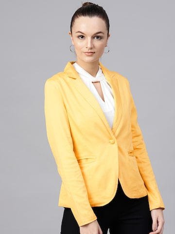 STREET 9 Women Yellow Single-Breasted Solid Casual Blazer STREET 9 Blazers at myntra