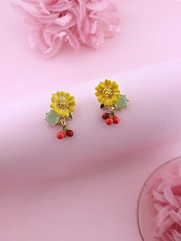 Sia Art Jewellery Multicoloured Gold Plated Floral Drop Earrings Sia Art Jewellery Earrings at myntra