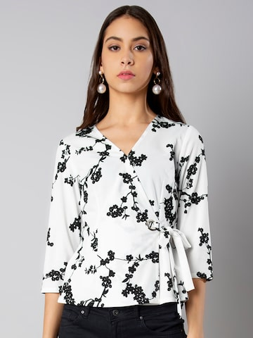 FabAlley Women White & Black Printed Wrap Top FabAlley Tops at myntra