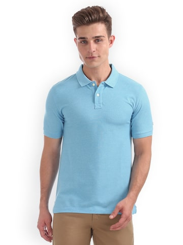 Arrow Sport Men Blue Solid Polo Collar T-shirt Arrow Sport Tshirts at myntra