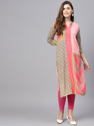 Shree Women Pink & Grey Printed Straight Kurta Shree Kurtas at myntra