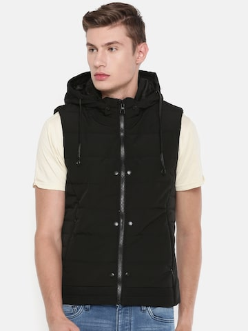 Killer Men Black Lean Fit Solid Padded Jacket Killer Jackets at myntra