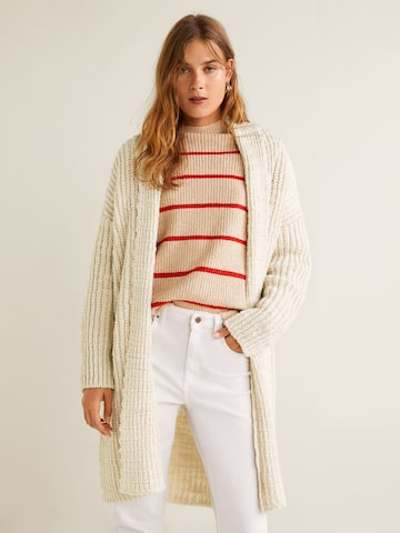 MANGO Women Off-White Striped Front-Open Longline Sweater MANGO Sweaters at myntra