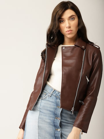 MANGO Women Brown Solid Biker Jacket MANGO Jackets at myntra