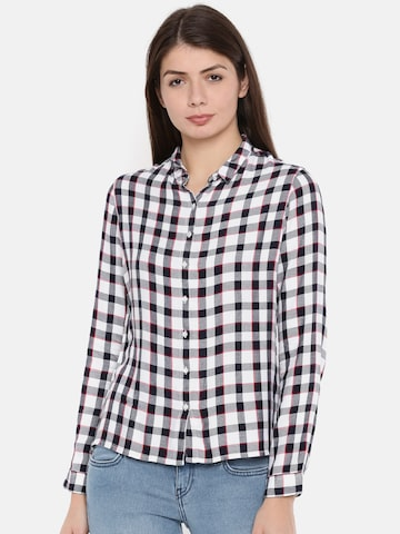 Lee Women Navy Blue & White Slim Fit Checked Casual Shirt Lee Shirts at myntra