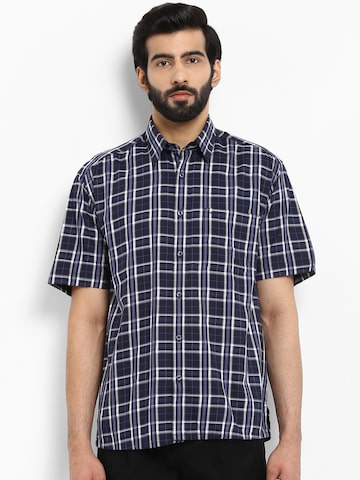 ColorPlus Men Blue Regular Fit Checked Casual Shirt ColorPlus Shirts at myntra