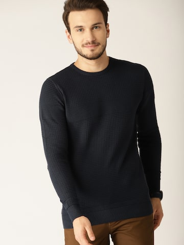 e27e1d19c36f United Colors of Benetton Men Navy Blue Self Design Pullover United Colors  of Benetton Sweaters from