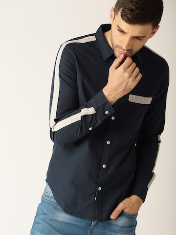 United Colors of Benetton Men Navy Slim Fit Solid Casual Shirt United Colors of Benetton Shirts at myntra