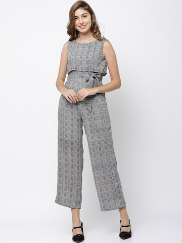 Tokyo Talkies Grey Checked Cropped Basic Jumpsuit with Tie-Up Detail Tokyo Talkies Jumpsuit at myntra