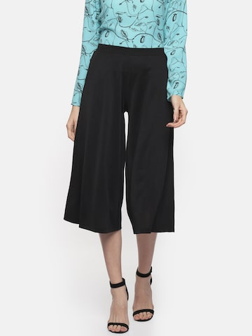 Honey by Pantaloons Women Black Loose Fit Solid Culottes Honey by Pantaloons Trousers at myntra
