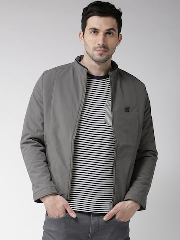 Fort Collins Men Grey Solid Tailored Jacket Fort Collins Jackets at myntra