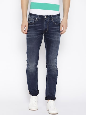 Pepe Jeans Men Navy Vapour Slim Fit Low-Rise Clean Look Stretchable Jeans Pepe Jeans Jeans at myntra