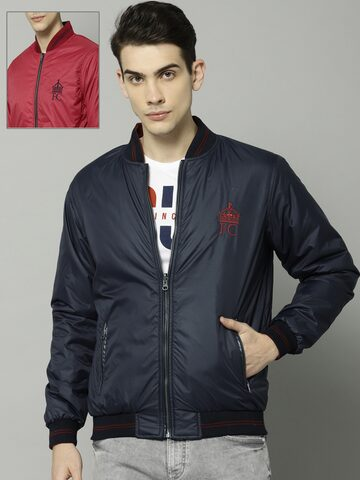 French Connection Men Navy Blue Solid Reversible Bomber Jacket French Connection Jackets at myntra
