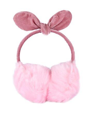CUTECUMBER Girls Pink Faux Fur Ear Muffs With Bow Detail CUTECUMBER Hair Accessory at myntra