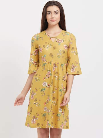 109F Women Yellow Printed A-Line Dress 109F Dresses at myntra