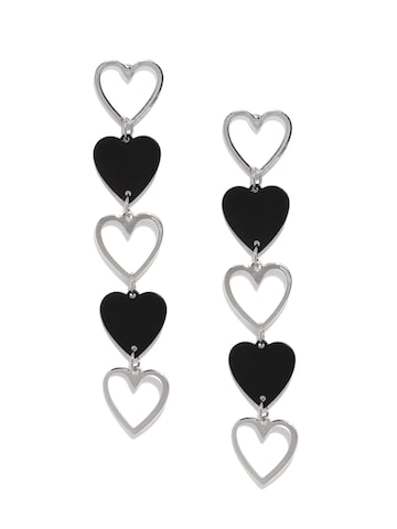 Ayesha Silver-Toned & Black Heart Shaped Drop Earrings Ayesha Earrings at myntra
