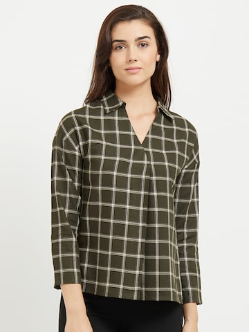 109F Women Olive Green Checked Shirt Style Top 109F Tops at myntra