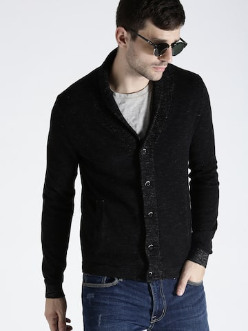 s.Oliver Men Black Solid Cardigan s.Oliver Sweaters at myntra