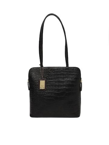 Hidesign Black Textured Shoulder Bag Hidesign Handbags at myntra