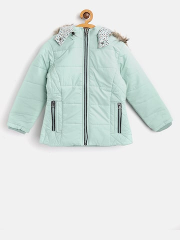 Fort Collins Girls Sea Green Solid Hooded Parka Jacket Fort Collins Jackets at myntra