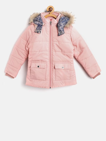 Fort Collins Girls Peach-Coloured Solid Parka with Detachable Hood Fort Collins Jackets at myntra
