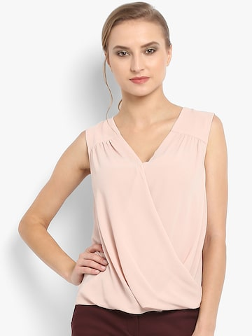 Forever New Women Nude-Coloured Solid Wrap Top Forever New Tops at myntra
