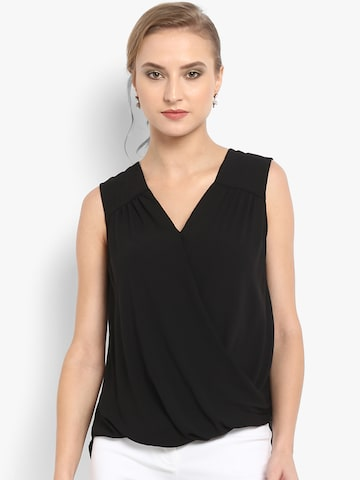 Forever New Women Black Solid Wrap Top Forever New Tops at myntra