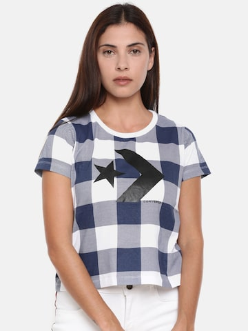 Converse Women Navy & White Checked Round Neck Crop T-shirt Converse Tshirts at myntra