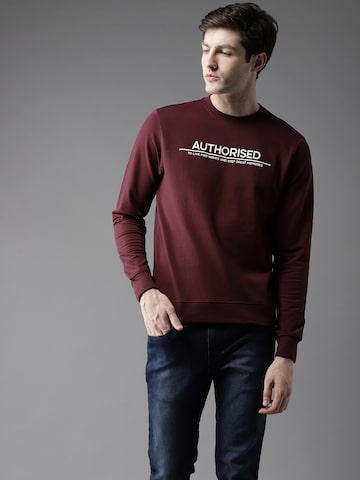 Flying Machine Men Maroon Solid Sweatshirt Flying Machine Sweatshirts at myntra