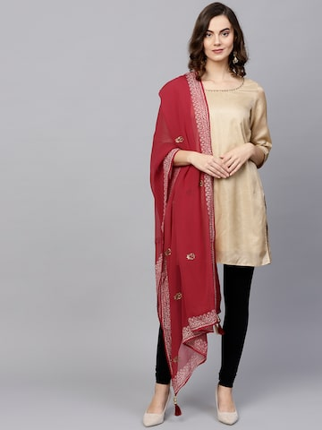 Shree Maroon Printed Dupatta Shree Dupatta at myntra