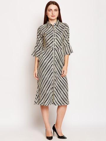 Meee Women Black Striped Shirt Dress Meee Dresses at myntra