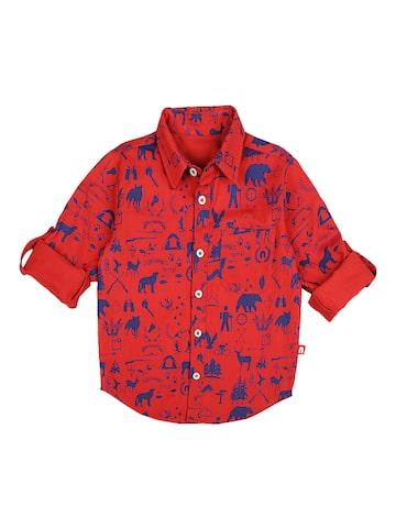 Nino Bambino Boys Red & Blue Regular Fit Printed Casual Shirt Nino Bambino Shirts at myntra