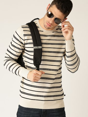 United Colors of Benetton Men Beige & Black Striped Pullover United Colors of Benetton Sweaters at myntra