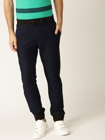 United Colors of Benetton Men Navy Blue Denim Regular Fit Solid Joggers United Colors of Benetton Trousers at myntra