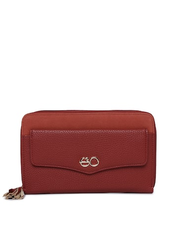 E2O Women Red Solid Zip Around Wallet E2O Wallets at myntra