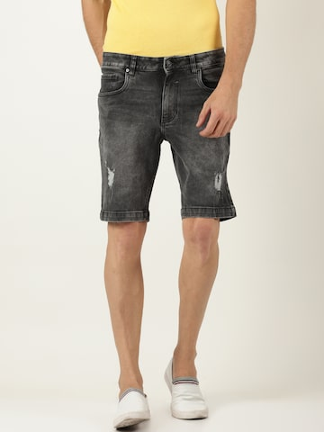 Blue Saint Men Black Washed Slim Fit Denim Shorts Blue Saint Shorts at myntra