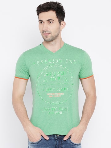 Duke Men Green Printed V-Neck T-shirt Duke Tshirts at myntra