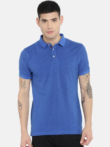 Lee Men Blue Printed Polo Collar T-shirt Lee Tshirts at myntra
