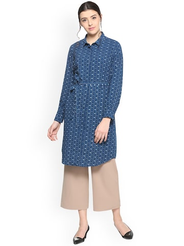 Allen Solly Woman Blue Printed Tunic Allen Solly Woman Tunics at myntra