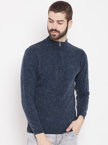 Duke Men Navy Solid Pullover Duke Sweaters at myntra
