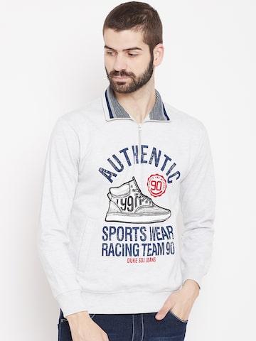 Duke Men Grey Melange Printed Sweatshirt Duke Sweatshirts at myntra