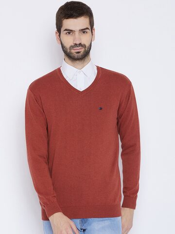 Duke Men Rust Orange Solid Pullover Duke Sweaters at myntra