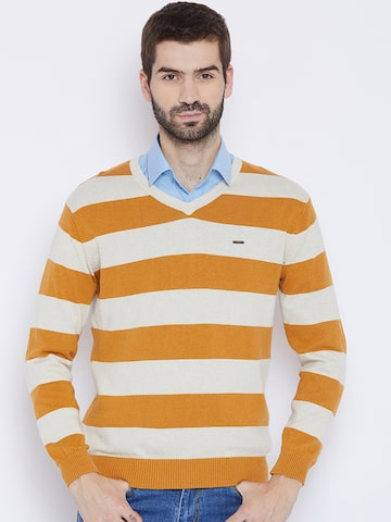 Duke Men Mustard Orange & White Striped Pullover Duke Sweaters at myntra