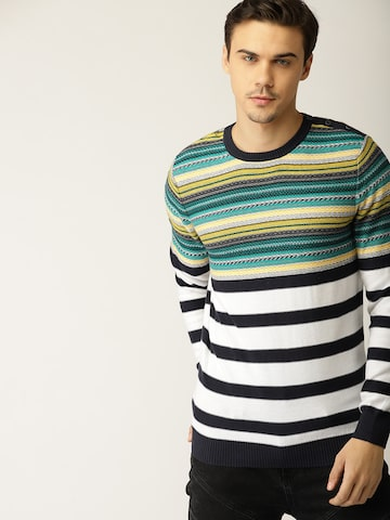 United Colors of Benetton Men White & Navy Blue Striped Pullover United Colors of Benetton Sweaters at myntra