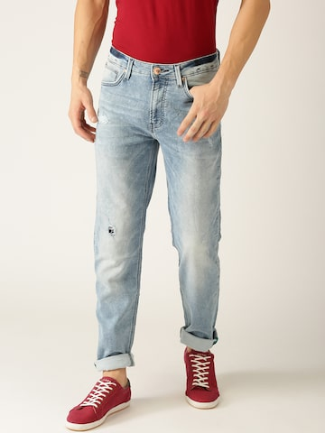 United Colors of Benetton Men Blue Slim Tapered Fit Mid-Rise Mildly Distressed Jeans United Colors of Benetton Jeans at myntra